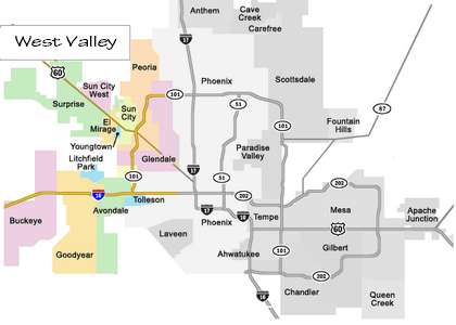 phoenix west valley map Greater Phoenix Area Phoenix Tempe Mesa Scottsdale Glendale phoenix west valley map